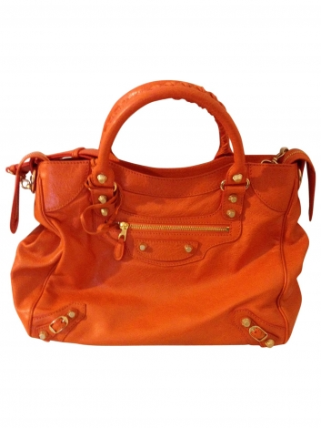 Lederhandtasche BALENCIAGA Giant 12 Velo Or Orange
