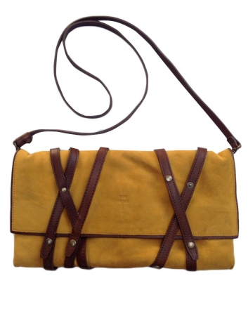Schultertasche Leder JEROME DREYFUSS Curry