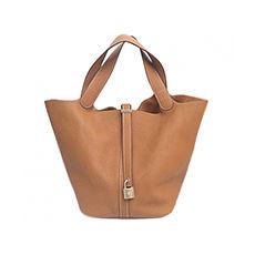 Leather Handbag HERMÈS Beige, camel
