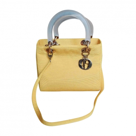 Non-Leather Shoulder Bag DIOR LADY DIOR Yellow